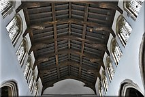 TL8866 : Great Barton: Holy Innocents Church: The c15th hammerbeam roof by Michael Garlick