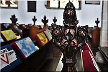 TL8866 : Great Barton: Holy Innocents Church: Finely carved poppyhead 4 by Michael Garlick