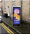 ST3288 : Greggs advert on a Fairoak Avenue phonebox, Newport by Jaggery