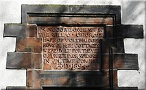 NT2273 : Panel on side of George Pape's Widows' Cottages by Richard Sutcliffe