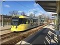SJ8385 : Metrolink tram #3077 at Shadowmoss tram stop by Graham Hogg