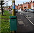 ST2089 : National Cycle Network Route 4 direction signs, The Crescent, Machen by Jaggery