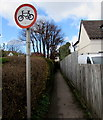 SO9623 : No cycling on this path on the west side on Bouncers Lane in Prestbury by Jaggery