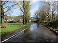 ST2089 : Large puddle on The Crescent, Machen by Jaggery