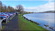 NS3559 : Castle Semple Loch and the Visitor Centre car park by Gordon Brown