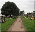 ST2987 : Path through the southern edge of St Woolos Cemetery, Newport by Jaggery