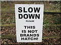 TQ4661 : Sign near to Norsted Manor Farm by Peter S