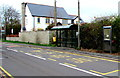 ST2682 : BT phonebox alongside a Marshfield Road bus stop, Marshfield by Jaggery