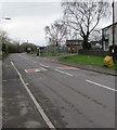 ST2681 : Yellow salt/grit bin near speed bumps, Marshfield Road, Marshfield by Jaggery