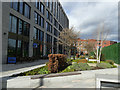 SE2933 : Planting in Wellington Place, Leeds  by Stephen Craven