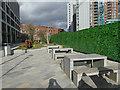 SE2933 : Picnic benches, Wellington Place, Leeds by Stephen Craven