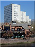 SP0586 : The Malt House and tower blocks by Philip Halling