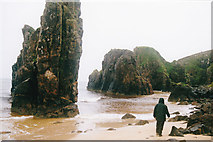 NB5349 : Small stacks on a wet beach by Malcolm Neal