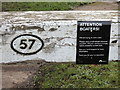 SO9868 : Notice on lock lever, Tardebigge lock 57 by Rudi Winter