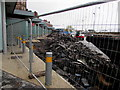 ST3188 : Pile of rubble in Market Square bus station, Newport by Jaggery