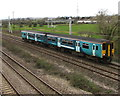 ST2681 : Transport for Wales train passes through Marshfield by Jaggery