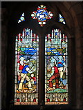 NT7702 : Catcleugh Reservoir 'Navvies Window', Byrness Church by Andrew Curtis