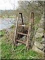 SH6167 : Metal stile on the bank of Afon Ogwen, Bethesda by Meirion