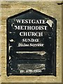 NY9038 : Noticeboard on Westgate Methodist Church by Mike Quinn