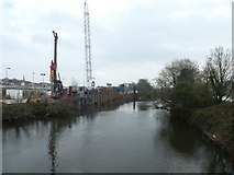 SX9193 : Construction work beside River Exe near St David's station by David Smith