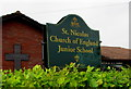 SU4766 : St Nicholas school nameboard, Newbury by Jaggery