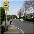 SU4766 : Warning sign - School, Link Road, Newbury by Jaggery