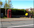SO1422 : Red phonebox, Bwlch, Powys by Jaggery
