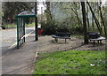 ST1290 : Metal benches near a bus stop and shelter, Caerphilly Road, Abertridwr by Jaggery