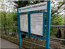 ST1599 : Information boards at the entrance to Gilfach Fargoed railway station by Jaggery