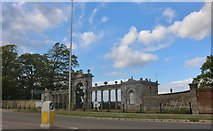 SP7047 : The entrance to Towcester Racecourse by David Howard