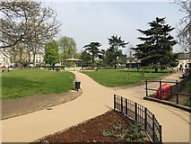 SP3165 : Riverside path and restored bandstand, Pump Room Gardens, Leamington by Robin Stott