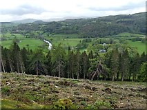 SJ0036 : Looking down on the river Dee and the Crogen estate by David Medcalf