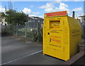 SN5747 : Yellow bin at the edge of Lampeter Fire and Rescue Station by Jaggery