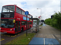 TQ4382 : Bus stop and shelter on Newham Way (A13) by JThomas