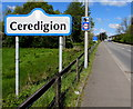 SN5847 : Ceredigion boundary sign on the approach to Lampeter by Jaggery
