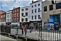 SO8554 : Worcester: High Street shops from the Guildhall by Michael Garlick