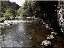 SK1272 : Chee Dale: looking back along the stepping stones by Chris Downer