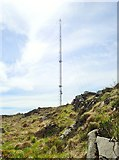 J0016 : Blue light emergency communications mast on Croslieve by Eric Jones