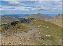 NN2505 : On the summit ridge of The Cobbler by John Allan
