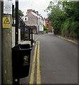 ST2281 : Litter notice above a litter bin, Church Lane, Old St Mellons by Jaggery