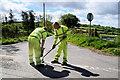 H2580 : Renewing road markings, Shanog Road by Kenneth  Allen