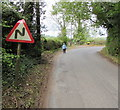 SO5318 : Warning sign - bends, Llangrove Road, Trewen, Herefordshire by Jaggery