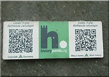 SH6266 : HiPoints information QR code at the cenotaph, Bethesda by Meirion