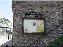 SX2553 : St Nicholas church name sign and information board, Looe by Jaggery