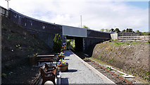 NJ4250 : Road bridge over the Keith and Dufftown Railway, Keith Station by John Lucas