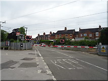 SJ8934 : Level crossing on Station Road, Stone by JThomas