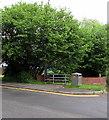 ST1493 : Metal bench and metal litter bin, Twyn Road, Ystrad Mynach by Jaggery