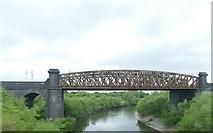 SJ5986 : West Coast Main Line bridge over the Mersey  by Stephen Craven