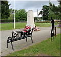 ST1493 : First World War silhouettes and bench in Ystrad Mynach by Jaggery