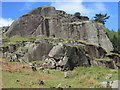 NY3113 : Rock buttress near to Thirlmere by Peter S